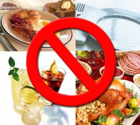 Не рекомендуемые продукты
